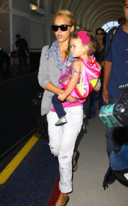 Jessica Alba in J Brand jeans with daughter Honor at LAX